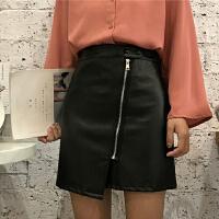秋冬新款女装韩版pu皮裙半身裙包臀黑色短裙高腰不规则A字裙皮裙