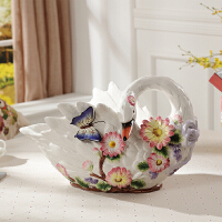 陶瓷水果盘欧式果盘奢华客厅创意茶几摆件家居装饰品天鹅结婚礼物