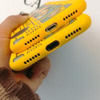 黄色卡通苹果XSMAXR手机壳iPhone6s/7/8plus可爱防摔保护软套浮雕 6/6s巴士 黄壳