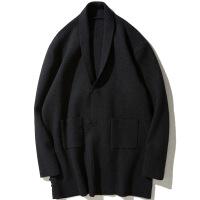 中国风大码男装毛衣外套 胖子加厚针织衫 加肥加大宽松毛衣开衫 黑色