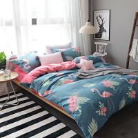床上四件套a面棉b面绒毛绒被套床单水晶绒1.5米床笠珊瑚绒保暖春秋4件套 蓝色 火烈鸟蓝