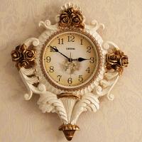 大气欧式挂钟客厅复古钟表创意挂表玫瑰花壁钟家居装饰时钟个性钟 H206FS 20英寸