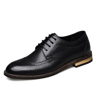 男士皮鞋韩版潮流夏季新款商务休闲内增高尖头布洛克英伦小皮鞋男