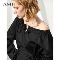 【到手价:131元】Amii极简气质轻熟风衬衫女2019秋季新款一字领露肩露锁骨长款上衣