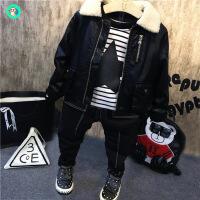 男童冬装2018新款套装加绒加厚宝宝小童皮衣三件套潮儿童冬季童装巴拉 黑色