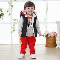 男童冬装新款婴儿衣服小童三件套冬季加厚1一3岁宝宝加绒卫衣套装