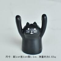 创意卡通举手小动物便签留言夹座名片夹卡片夹迷你可爱摆件装饰品 黑猫