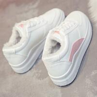 小白鞋女冬2018新款百搭韩版加绒棉鞋厚底板鞋 ulzzang原宿运动鞋 粉红色 加绒