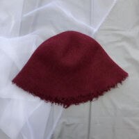 №【2019新款】chic风纯色毛边盆帽秋冬折叠渔夫帽羊毛呢小礼帽英伦复古帽子 M(56-58cm)