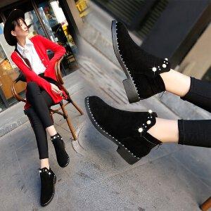 短靴女单靴女秋季新款英伦风复古圆头切尔西靴粗跟低跟珍珠短靴磨砂女鞋子1307MH