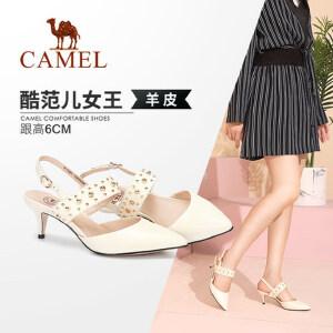 Camel/骆驼女鞋 2018夏季新品 真皮时尚气质搭扣细跟尖头单鞋女潮