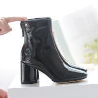 2018秋冬新款亮皮漆皮英伦马丁靴子同款及踝靴粗跟高跟短靴女 黑色(跟7.5厘米) 无内里