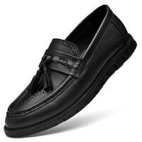 纯黑色雕花男鞋子韩版潮流搭牛仔裤真皮流苏皮鞋一脚蹬纯皮懒人鞋 黑色