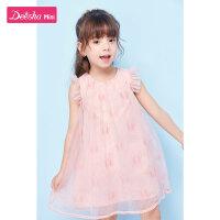 笛莎女童连衣裙2021年夏季新款女宝宝时尚洋气裙子女孩网纱连衣裙
