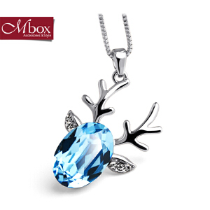 新年礼物Mbox项链 女韩国版原创采用施华洛世奇元素水晶锁骨项链 小鹿吉祥