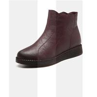 妈妈棉鞋女冬加绒保暖中年新款短靴软底防滑中老年平底舒适老人鞋SN2218