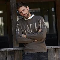 №【2019新款】小伙子穿的2018新款毛衣男韩版修身显瘦针织衫青年休闲假两件圆领打底衫