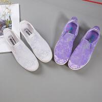 回力女鞋老北京布鞋夏季女网鞋小白鞋懒人帆布鞋女休闲平底单鞋子