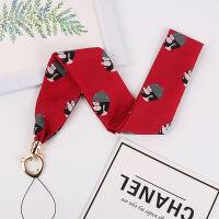 手机挂绳丝巾女款可爱个性创意挂脖绳牢固宽布网红丝巾缎带二合一