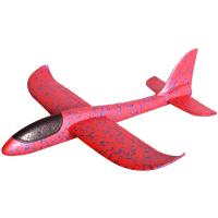 儿童航模网红手抛泡沫飞机户外玩具滑翔机回旋塑料拼装模型批发抖音 红色大号48cm【直飞+回旋+拐弯】 +送夜航灯+