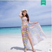 比基尼泳衣女三件套裙式遮肚显瘦钢托聚拢波西米亚海边度假温泉装