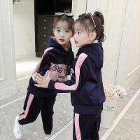 女童秋冬装套装2018新款韩版中大童儿童洋气金丝绒加绒加厚两件套