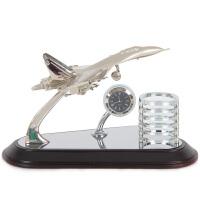 办公室老板桌摆件创意可爱实用高档文台时尚简约笔筒开业礼品套装 飞机模型2039