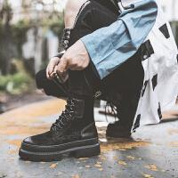 2018冬韩版新款系带马丁靴女复古黑色女靴厚底短筒靴高跟短靴子女 黑色 单里