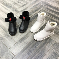 欧洲风格站2017冬季新款雪地靴圆头羊毛保暖冬季牛皮纯色平底靴子
