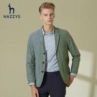 Hazzys哈吉斯�士男士�挝骷�色青年西�b男休�e春季英��外套西服