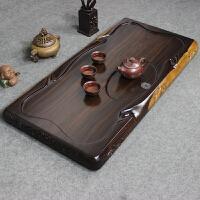 整块木茶盘 实木茶台 长方形简约家用茶海 大号排水功夫茶具 行云流水100X50 +赠品