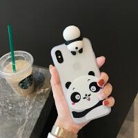 立体趴趴熊猫公仔iphone xs手机壳苹果x可爱8plus硅胶软7p女款6s手机套 苹果7/8 熊猫公仔单只熊猫