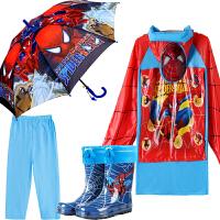 蜘蛛侠学生儿童雨衣雨鞋套装雨具男童宝宝保暖雨靴中大童雨披雨伞 XXXXX