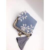 复古口金包 珍珠蕾丝零钱包可爱清新手拿女士硬币包 手工布包钱包 孔雀蓝 牛仔蓝