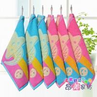 方巾纯棉挂式6条装 婴幼儿园小孩子方形毛巾手帕手绢 25x25cm