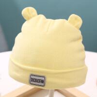 女婴儿胎帽0-3个月春秋季夹棉初新生儿童帽子厚男宝宝护卤门秋冬 小熊 黄色 0-2个月(头围25-35cm)