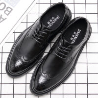 秋季男鞋子英伦布洛克鞋韩版男士婚鞋增高商务正装休闲皮鞋男
