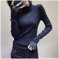 №【2019新款】半高领毛衣打底衫女修身内搭长袖薄款蕾丝拼接气质针织衫秋冬新款 均码