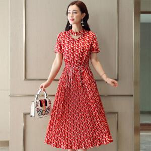 风轩衣度 连衣裙高腰套头单件2018年夏季短袖长裙舒适修身纯色 2278-1869