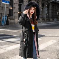 羽绒服2018冬季新款轻薄女装中长款过膝韩版宽松连帽大毛领外套潮
