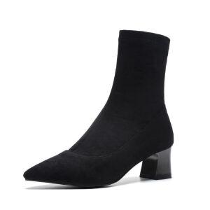 WARORWAR法国2019新品YG06-X29冬季欧美磨砂绒反绒粗跟鞋中高跟鞋女鞋潮流时尚潮鞋百搭潮牌靴子切尔西靴短靴