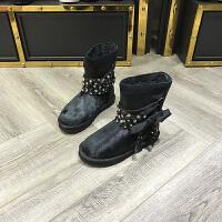 冬季新款靴子女羊毛圆头短筒靴黑色雪地靴加绒棉靴