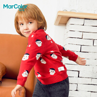 【1件2折】巴拉巴拉旗下马卡乐冬季男宝宝圣诞主题喜庆长袖套头毛衫