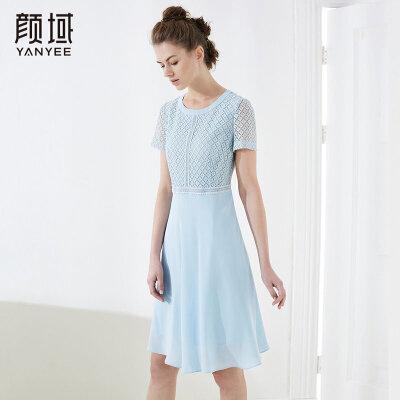 颜域女装纯色短袖格子拼接连衣裙中长款收腰减龄2018夏新款长裙子