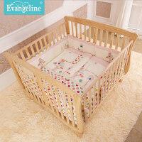 双胞胎婴儿床加大无漆实木双人床婴儿床实木童床龙凤胎床环保 原木色