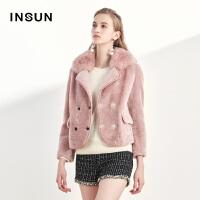 INSUN/恩裳气质时尚大翻领羊毛革保暖狐狸毛领皮毛一体短款外套