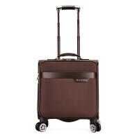 商务男士行李箱万向轮18寸登机箱小行李箱女牛津布密码旅行箱手提 豪华棕 001 牛津布