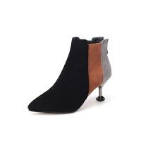 鞋子女2018新款女鞋韩版秋冬女靴子尖头拼色细跟高跟鞋短靴及踝靴