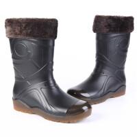 雨鞋男款时尚冬秋保暖防水高筒套鞋胶靴钓鱼中长筒水鞋