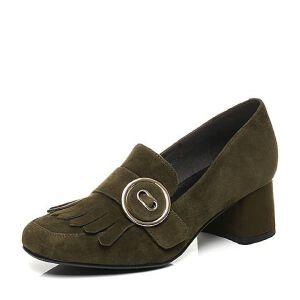 Belle/百丽2017秋季新品专柜同款羊绒皮粗跟女单鞋BOS23CM7